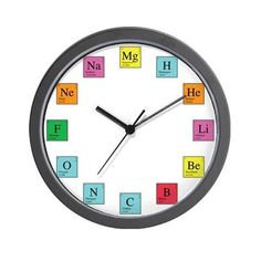 Periodic Table Clock Wall Clock by Engineer Wear - CafePress Wall Clock Design, Clock Wall, Unusual Clocks, Unisex Gifts, Gifts For Boys, Decoration, Periodic Table, Geek Stuff, Science Classroom