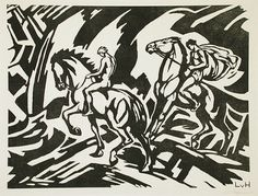 Riders  Alternate Title: Reiter  Ludwig von Hofmann (Germany, 1861-1945)  Germany, circa 1915  Prints; woodcuts  Woodcut on wove paper  Image: 12 1/8 x 15 3/4 in. (30.8 x 40.01 cm); Sheet: 15 3/16 x 19 5/8 in. (38.58 x 49.85 cm)  The Robert Gore Rifkind Center for German Expressionist Studies (M.82.287.29)