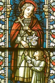 Lidwina van Schiedam. ca 1900. Glasschilderkunst. Nederland, Delft, Maria van Jessekerk. .