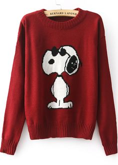 Jersey punto Snoopy manga larga-rojo 18.28