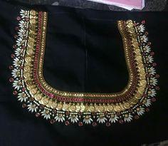 Kasu embellished blouse designs for silk saree Back Neck Designs, Blouse Neck Designs, Blouse Desings, Wedding Saree Blouse Designs, Maggam Work Designs, Blouse Models, Work Blouse, Fancy, Indian Designer Wear