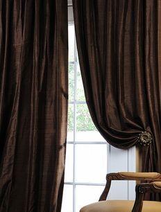 Chocolate Textured Dupioni Silk Curtains & Drapes