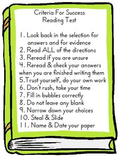 Criteria for Success: Reading Test. Students help me create these, and we talk about how these skills should help them far beyond third grade. I post them on the SMARTBoard while we test, and then print them 4/page to send home with their graded paper.