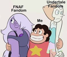 Welp I'm obviously Amethyst because I love Fnaf, and I'll never side with Undertale. Freddy S, Five Nights At Freddy's, Fandoms, Undertale Memes, Anime Fnaf, Cartoon Crossovers, Fandom Crossover, Bendy And The Ink Machine, Art Memes