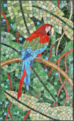 Stained glass mosaic Macaw Parrot Bird Wall by ShellyHeissDesigns