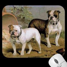 """Bulldogs"" Vintage Dog Illustration Mousepads"