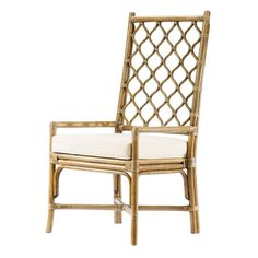 The tall backed Ambrose Dining Chair features Berber inspired lattice work is comfortable to lean against and creates an airy textured dcor in a space when unoccupied. Work well with rattan tables or complement most wood finishes to create a unique dini Dining Room Chairs, Side Chairs, Kitchen Chairs, Dining Table, Rattan Armchair, Rattan Chairs, French Chairs, Exposed Wood, Burke Decor
