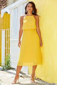 High-Neck Pleated Sleeveless Midi Dress Holiday Party Dresses, Party Dresses For Women, Winter Dresses, Spring Dresses, Sparkly Flats, High Neck Blouse, Boston Proper, Yellow Dress, Flare Dress
