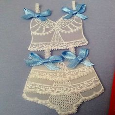 """A delicate handmade parchment / vellum wedding card with a lovely underwear decoration. Unique and special. Perfect as """"something blue..."""""""