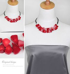 Trendy gifts,best of etsy,for her,Red Necklace,Coral Petals Necklace,semi precious stone,rough stone red necklace,genuine coral red necklace