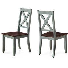 Sturdy Better Homes and Gardens Maddox Crossing Dining Chair, Blue, Set of 2 - This was exactly what I needed.This Better Homes and Gardens that Kitchen Table Chairs, Farmhouse Kitchen Tables, Fabric Dining Chairs, Old Chairs, Solid Wood Dining Chairs, Dining Chair Set, Table And Chairs, Dining Table, Dining Area