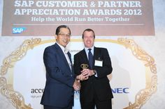 The CEO of PS Fasteners Pte Ltd receiving the 2012 Best SAP Business One Project Award in Singapore from SAP at Alkaff Mansion Ristorante, 22 November 2012. PS Fasteners is a customer of Blue Ocean Systems.