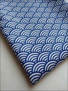Coupon fat quarter coton japonais motifs vagues : Tissus pour Patchwork par la-mercerie-d-elyzza