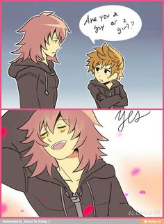 Marluxia & Roxas ---Lol yep but Marluxia is a guy :P #KingdomHearts