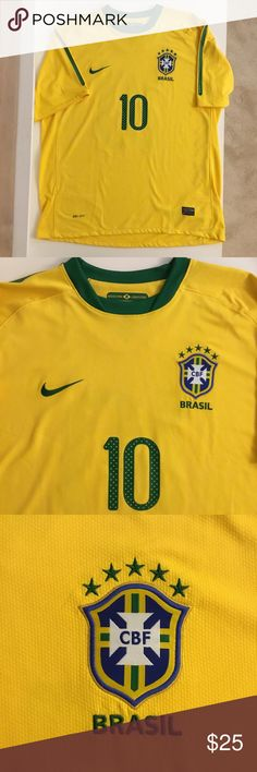 Brasil Soccer World Cup Jersey by Nike Mens XL Brasil Soccer World Cup Jersey by Nike  Yellow and Green CBF Brazil Replica  Mens XL   Number 10 on back   No flaws, smoke-free and pet-free. Nike Shirts Tees - Short Sleeve