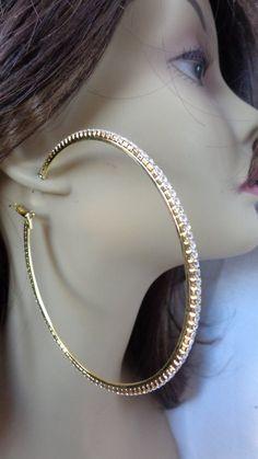 Large Inch Hoop Earrings Crystal Rhinestone Hoop Earrings Gold Or Silver Thin Hoop Earrings, Bamboo Hoop Earrings, Big Earrings, Earrings Photo, Crystal Earrings, Crystal Rhinestone, Clip On Earrings, Beautiful Earrings, Crystals