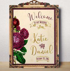 Wedding Sign Printable Purple Wedding Welcome sign Burgundy