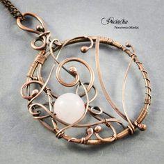 pendant with quartz made & copper wirewrapping by Pracownia Miedzi Pociecha