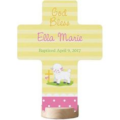 Personalized Sweet Blessings Christening Lamb Cross, Available in Blue or Pink