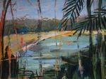 Painting, acryl. Lake: a colorful nature. Wil jij hier je vakantie doorbrengen?