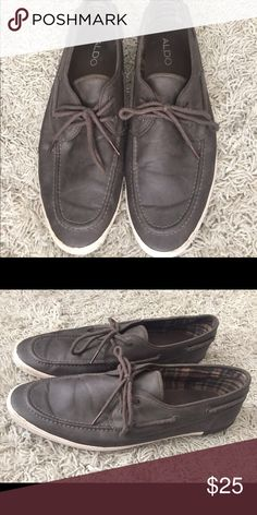 Grey and while Aldo boat shoes (Men's) Men's Size 12. In good condition. Aldo Shoes Flats & Loafers