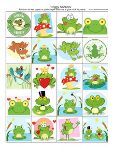Froggy Stickers http://www.kidscanhavefun.com/sticker-sheets.htm #stickers #freebies