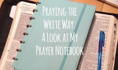 About six years ago I started a prayer notebook. It started out of sheer  desperation really: too many prayers to keep in my heart so I poured them  out on paper.   Quite a few years ago, I'd taken a class at church where the instructor had  us write prayers to God. I'd never been taught that and found the exercise  to be a powerful expression of prayer.  Back to my first prayer notebook, It was a combination of scriptures turned  prayer, chapters of the Bible written out, lyrics from songs…