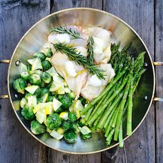 Less than 10 min! 1 bunch asparagus, 1 puns Brussels Sprouts, 1/3 lemon slices into bits, 4 chicken thighs, 3 sprigs Rosemary, 1 tbls pasture pork lard over chicken , 1/2 cup olive drizzled over whole thing and sprinkle with salt. Roast 375 for 50 minutes! #autoimmunepaleo #autoimmuneprotocol #aiplifestyle