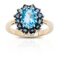 złoty pierścionek z topazem i szafirami