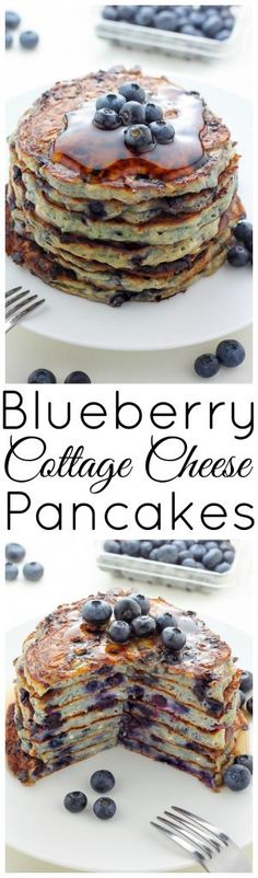 Light and incredibly fluffy, these Blueberry Cottage Cheese Pancakes are a game changer! Drizzle with maple syrup. Bonus: They're made with whole-wheat flour and just a kiss of brown sugar!