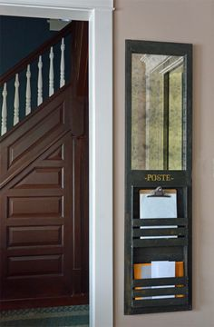 Metal Tile Letter Organizer Vintage Wall Mount Mail Sorter 3 Tier Old Fashioned