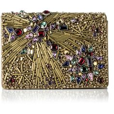 Marchesa Marisol Clutch ($2,295) ❤ liked on Polyvore featuring bags, handbags, clutches, genuine leather handbags, beaded clutches, metallic purse, leather clutches and real leather purses