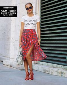 Graphic Tees and Feminine Skirts