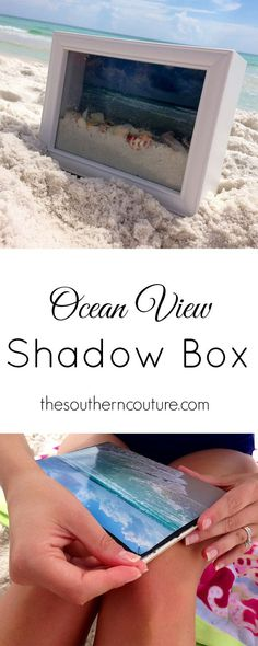 Fun idea to remember your trip to the beach - Use a shadow box and a pic with sand/shells from your vacation