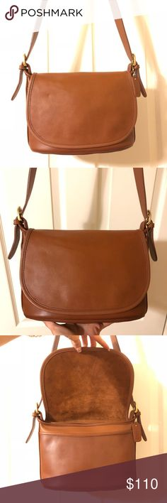 Vintage Coach Fletcher Bag 4150 #E7M-4150. Made in the Costa Rica in 1997. British Tan leather with brass hardware. 10w x 7h x 4.5d. 44 inch adjustable strap. Cleaned and conditioned thoroughly using Leather Therapy and Skidmore's, no dyes/paint that can crack over time. Ready for another 20 years of use. All my bags are near pristine unless otherwise stated or shown in pix. Coach Bags Crossbody Bags