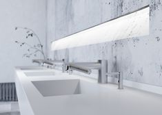 The Dyson wash+dry matches with the CLEANTEC washBASIN™ - as if from a single mould Hand Dryer, Solid Surface, Soap Dispenser, Planer, Sink, Bathtub, Key, Design, Home Decor