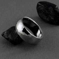 Titanium Hand Hammered Ring - Domed Profile. $139.00, via Etsy.
