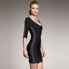 9f3150a346511 Herve Leger outlet Contrast Side Bandage Dress In Black