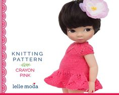 16 inch doll clothes for Disney Animators, Knitting pattern  Pink Summer  Dress,  Easy  PDF