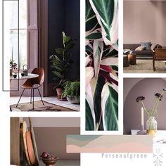 Moodboard inspiratie, prachtige kleuren groen, met een pastel roze ...