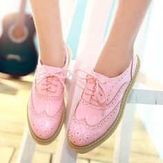 Pastel pink wingtips  HOT-Brogue-womens-oxfords-lace-up-slip-on-leisure-wing-tip-platform-shoes-Punk