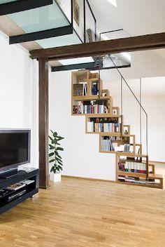 bookshelves staircase-