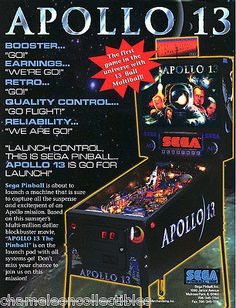 APOLLO-13-By-SEGA-1995-ORIGINAL-NOS-PINBALL-MACHINE-ADVERTISING-PROMO-FLYER…