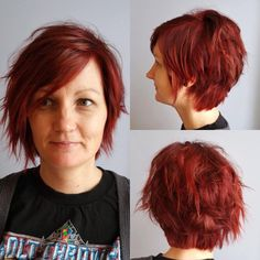 Short Red Choppy Haircut