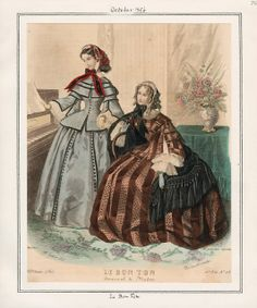 In the Swan's Shadow: Le Bon Ton, October 1856.  Civil War Era Fashion Plate