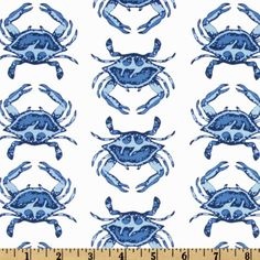 Michael Miller Going Coastal Collection Crab Walk Blue from @fabricdotcom  Designed by Emily Herrick for Milchael Miller Fabrics, this cotton print features blue crabs on a white background. Use for quilting and craft projects.
