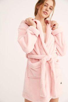 Womens Hot Pink Hooded Fleece Dressing Gown Bath Spa Robe Loungewear Gift Idea