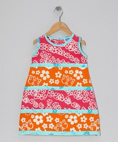 Take a look at this Dark Pink & Orange Tiered Swing Dress - Infant, Toddler & Girls by Young Colors on #zulily today!