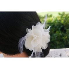Small bridal ivory hair flower pin and brooch in organza with floral stamens and feathers