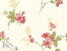 Tapet cu flori in stil romantic, in culori de alb, galben, roz, verde.  http://www.ka-international.ro/tapet.html #tapetromantic